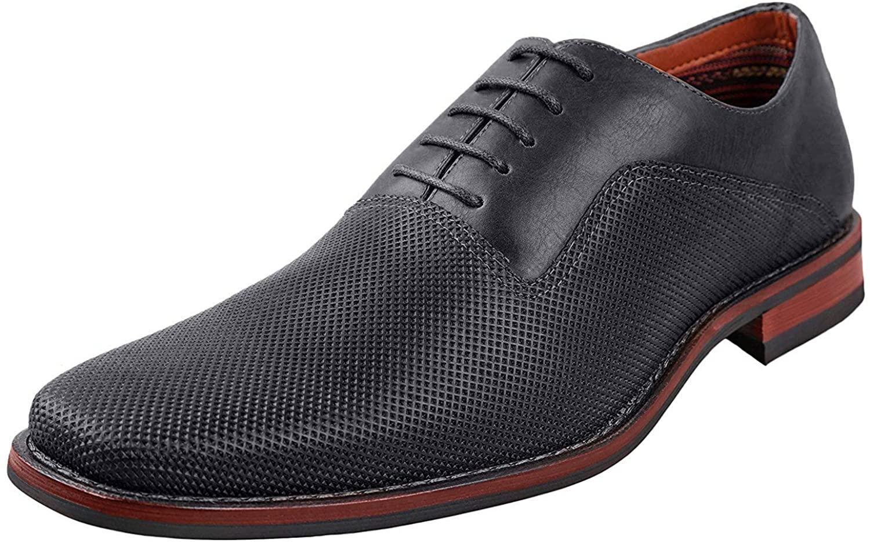 Ferro Aldo Mens Lalo Oxford Dress Shoes   Comfortable Dress Shoes   Formal   Lace-Up   Classic Design   Black 9
