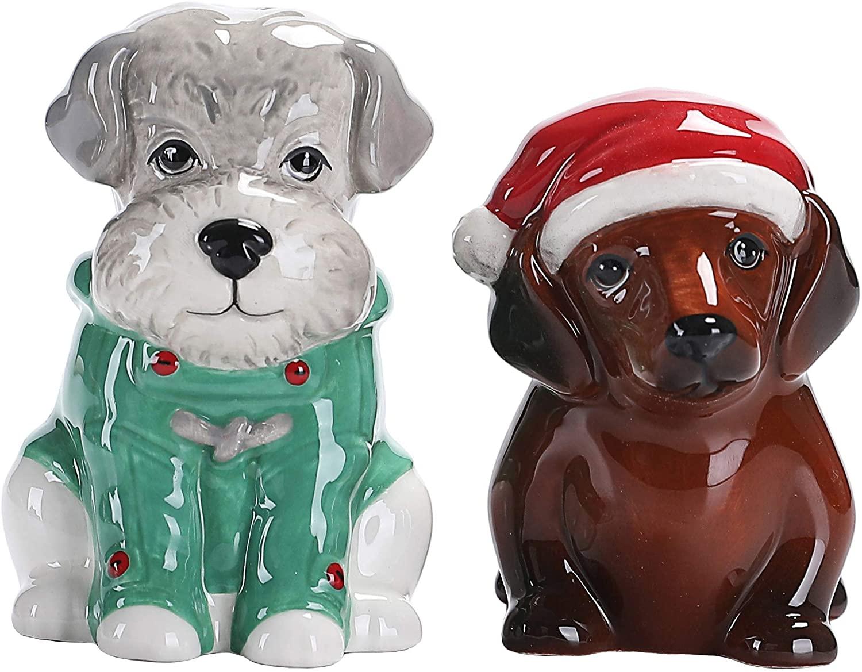 Bico Winter Dog I Salt & Pepper Shaker Set, Handpainted, Dishwasher Safe