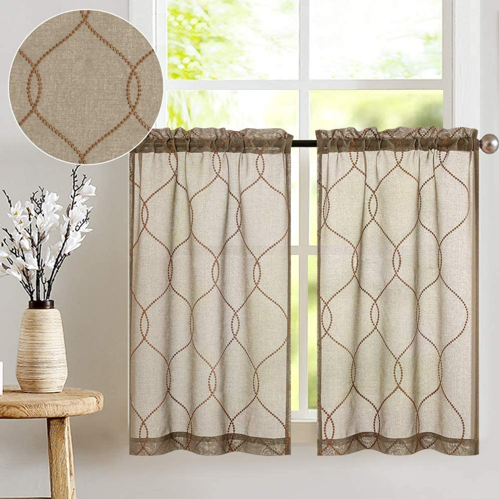 Embroidery Kitchen Curtains 2 Pcs Moroccan Trellis Pattern Embroidered Semi Sheer Kitchen Tier Curtains 24 inch L for Bathroom Taupe