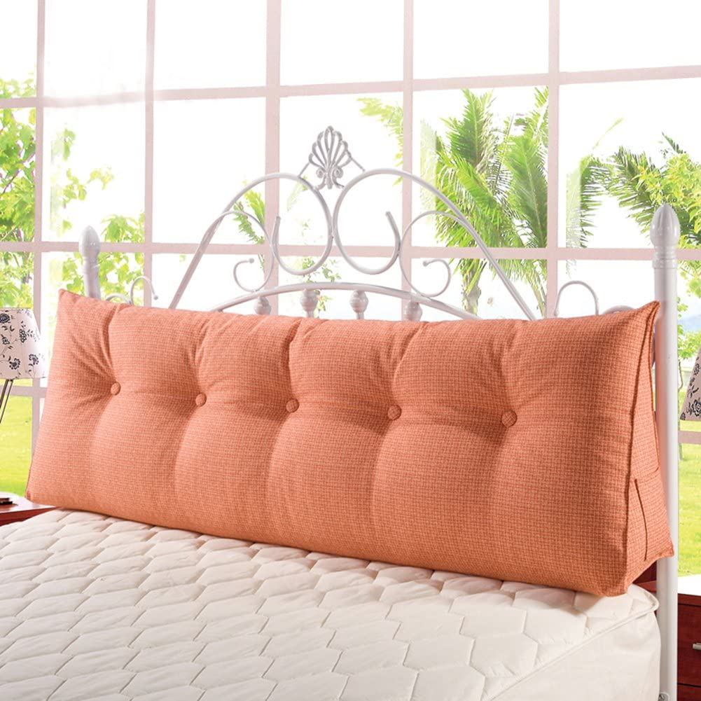 Large Filled Triangular Soft Wedge Cushion Bed Backrest Positioning Support Bolster Reading Pillow Home Office Lumbar Pad with Removable Cover Orange Soft Headboard 47 Inches