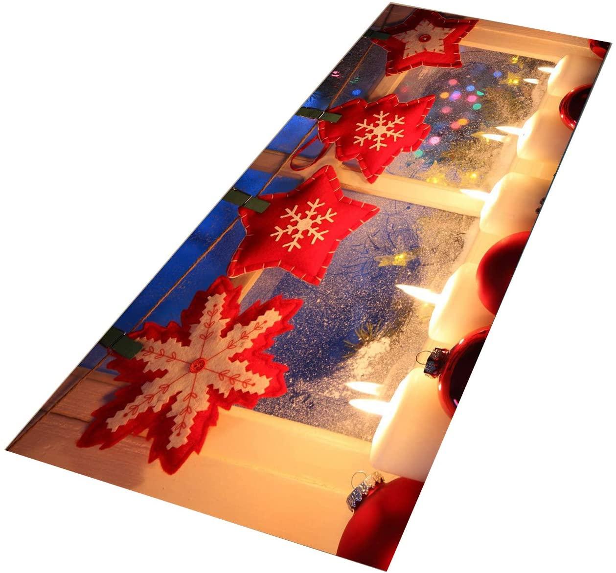 Crafttable 2 Pieces Santa Claus Kitchen Rug Set, Anti-Fatigue Kitchen Floor Mat, Non Slip Standing Carpet, 15.7x23.6+ 15.7x47.2 in, 21