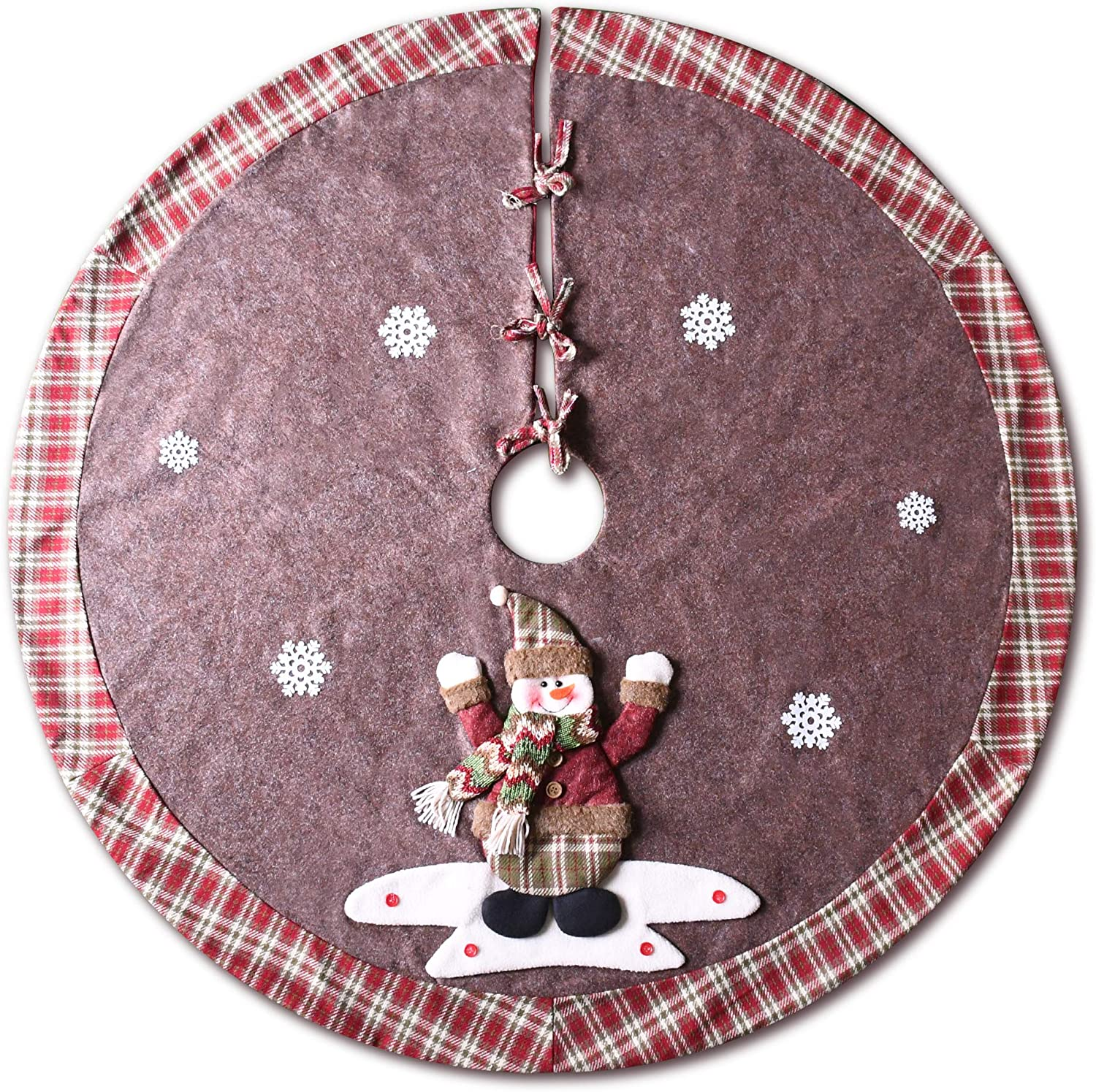YuQi Christmas Tree Skirt, 48 inch Plaid Edge Linen Burlap Tree Skirt Mat with 3D Snowman for Indoor Outdoor Christmas Decorations Home and Holiday Party