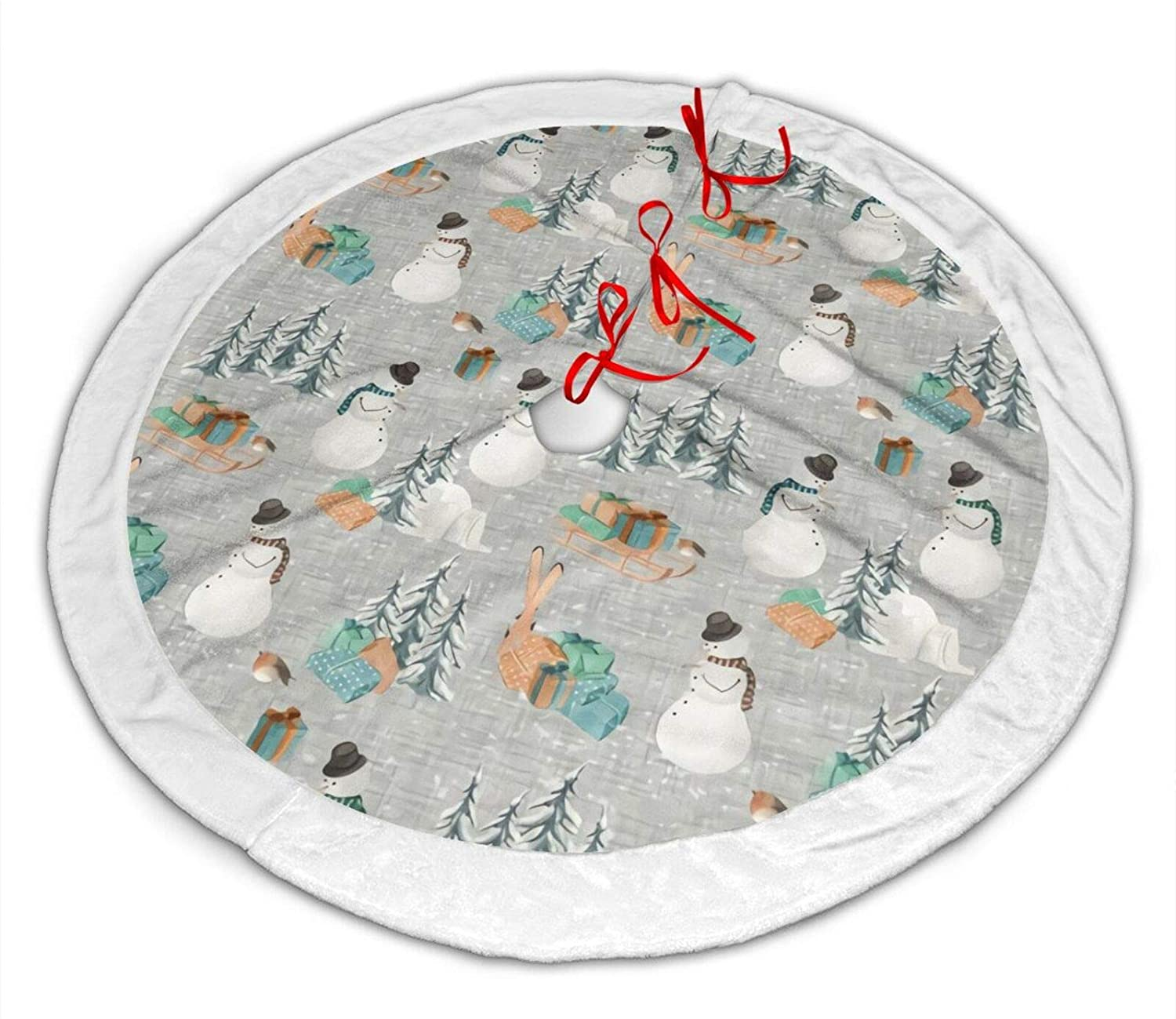 antcreptson Woodland Winter Snowman Gray Christmas Tree Skirt for Xmas Decoration 36 inch