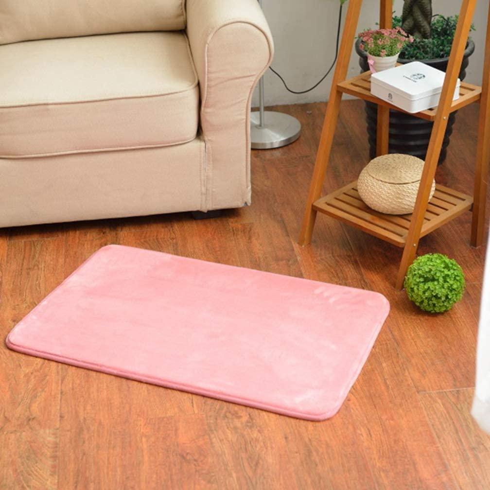 MOXIC Solid Rectangular Area Rugs Soft Living Room Children Bedroom Rug Coral Fleece Anti-Slip Carpets Home Decor Modern Indoor Outdoor Runners Nursery Pink 4' X 5.2'