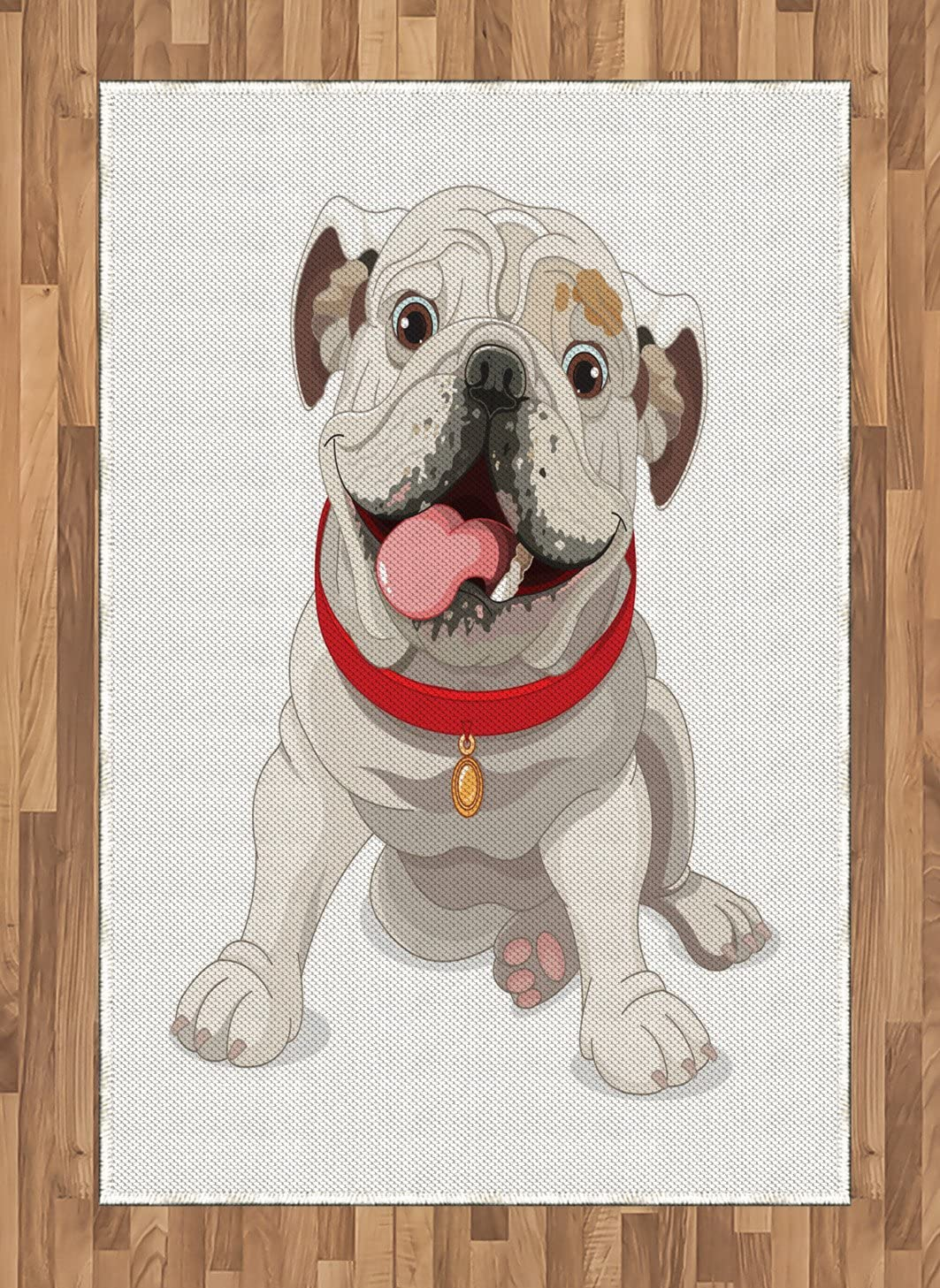 Ambesonne English Bulldog Area Rug, Happy Puppy with a Red Collar Domestic Pure Breed Animal Illustration, Flat Woven Accent Rug for Living Room Bedroom Dining Room, 4' X 5.7', Cream Red Pink