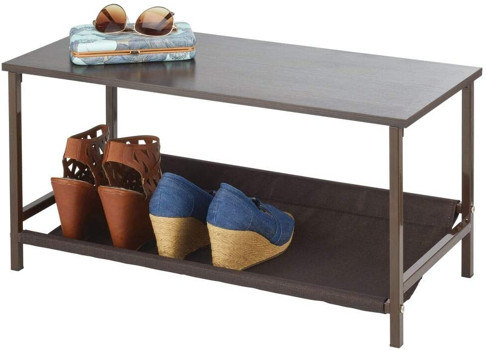 mDesign Shoe Storage Bench with Fabric Shelf Rack for Entryway, Hall, Mudroom, Closet: Compact 2-Tier Organizer Unit - for Wedges, Flats, Sneakers - Wood Top, Sturdy Metal Frame - Espresso