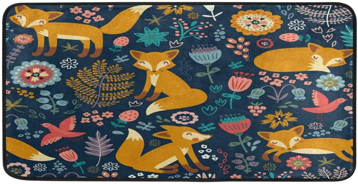 FORMEETY Cute Fox Flower Leaf Long Floor Mat Washable Area Rug Pads Kitchen Rug Doormat Carpet for Living Room Indoor Outdoor Bathroom Entryway