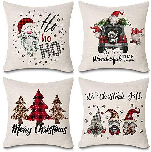 KACOPOL Christmas Pillow Covers Buffalo Plaid Gnomes Christmas Tree Farmhouse Truck Christmas Decorations Throw Pillow Case Cushion Cover 18
