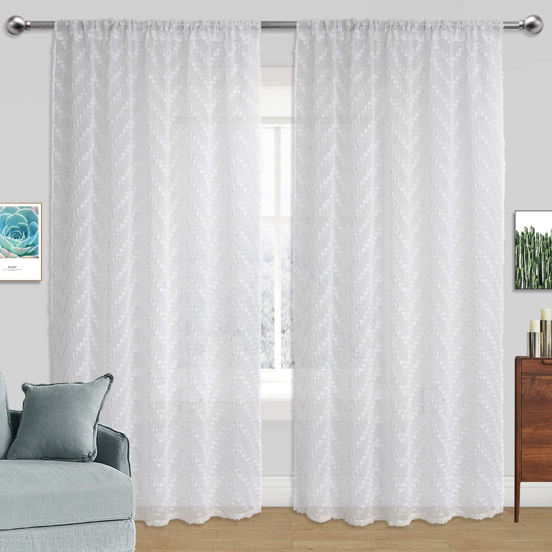 Kingria White Pom Pom Sheer Curtains 63 Inch Long for Girls Kids Living Bedroom Rod Pocket 2 Panels Voile Sheer Curtains Textured(White, W54 x L63)