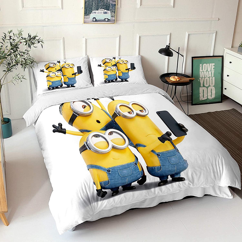 Minions Cartoon Style Bedding Set Twin Size Boys Cartoon Minions Duvet Cover Set 100% Microfiber Kids Teenagers Boys Bed Set 2pcs 1 Duvet Cover and 1 Pillowcase