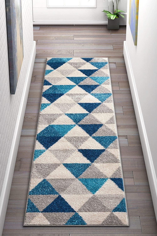 Well Woven Isometry Blue & Grey Modern Geometric Triangle Pattern 2 x 7 (2' x 7'3