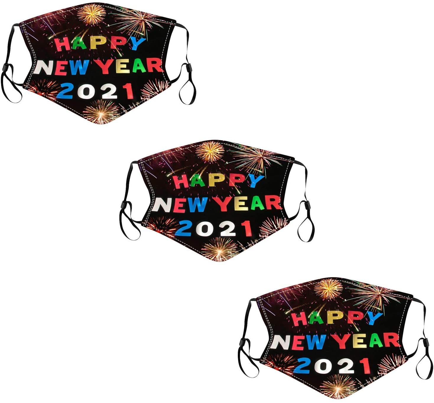 Usblom 3PCS Adult New Year's Day 2021 Printed Face Bandana_Covering_MASK Dust-Proof Washable Cotton Bandana with 3PCS Filters for Men and Women (J)