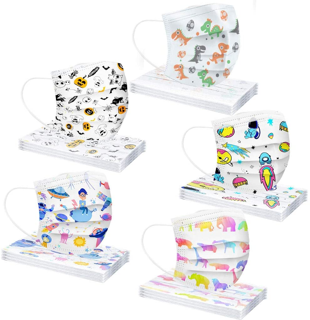 Face Masks for Kids Disposable.3 Ply Non-Woven and Breathable Cute Cartoon 50Pcs Face Mask with Cute Printing No Washable Anti-Haze Dust for Kids