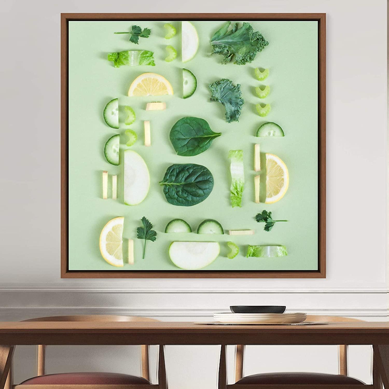 bestdeal depot Green Foods / Colorful Fruit Kitchen Multicolor Photograph Framed Canvas Wall Art Prints for Living Room,Bedroom Framed Artwork Decoration Ready to Hang - 16