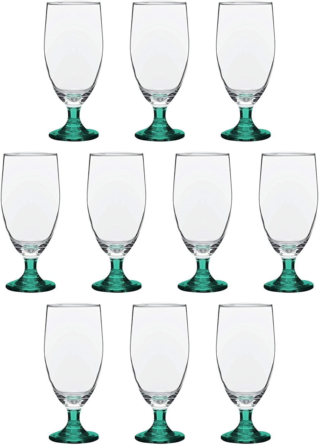 Large Water Goblet Glasses 20 Oz By Toscana - 10 pack - Great For Iced Tea Ice Water Casual Dinner - Stemmed Footed Glass Glassware - For A Restaurant Wedding Everyday Purpose - Green