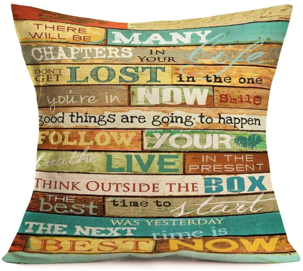~ Inspirational Quotes Throw Pillow Cases Cotton Linen Vintage Wood with Classical Saying Words Decorative Pillow Covers 18x18 Inch Standard Home Office Decor Cushion Cover