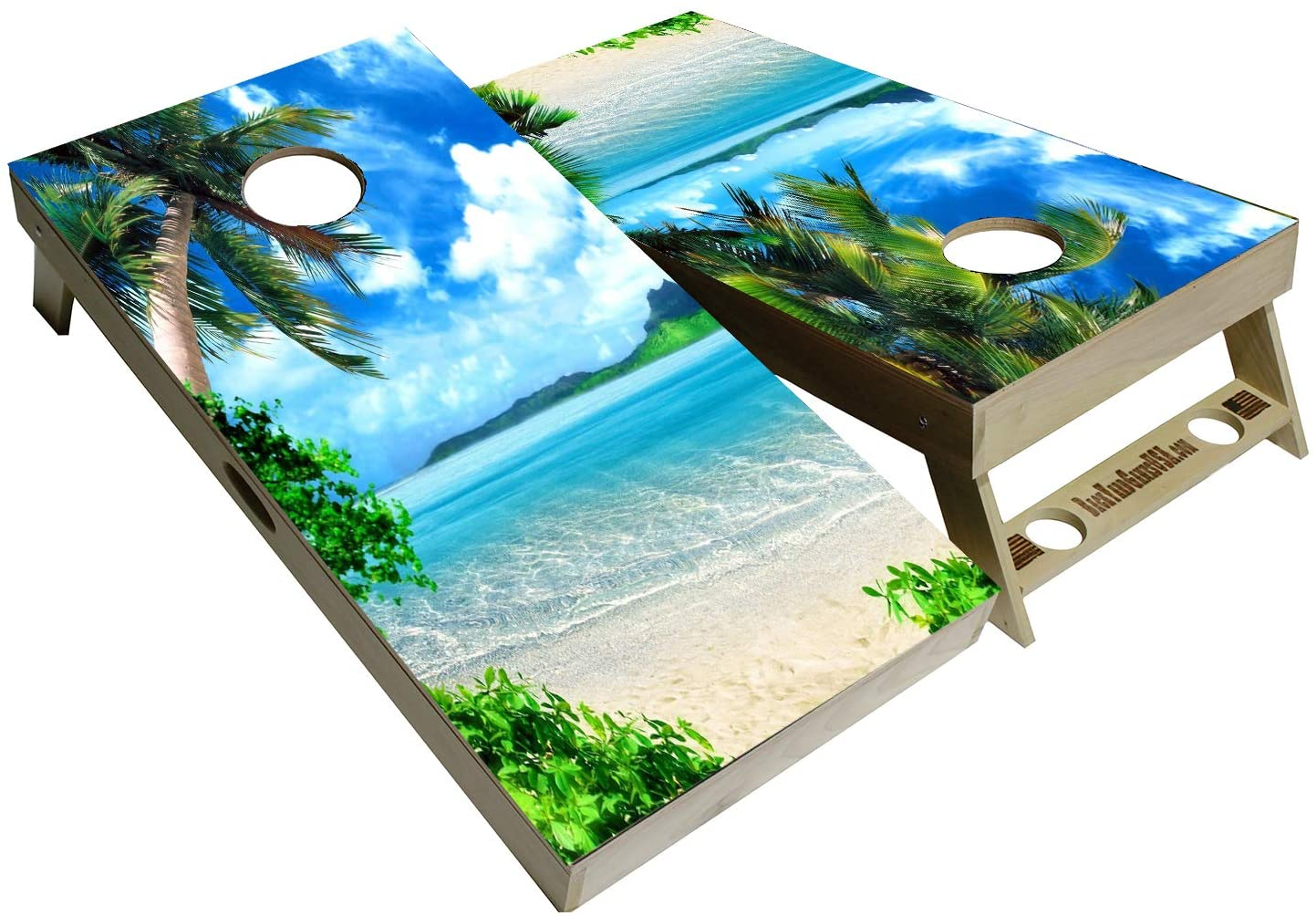 BackYardGames Vinyl Wraps Cornhole Board Decals Tropical Bag Toss Game Stickers (2X Wraps Skins only) Choose Between a varation of Tropical Decals