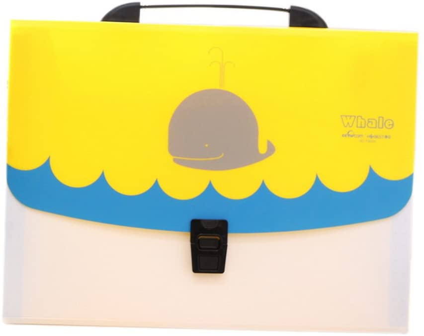 Practical Multi-Layer Waterproof Fashion File Folder, Yollow and Blue