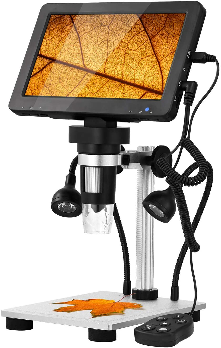 Hayve 7Inch LCD Digital USB Microscope 1200X Magnification,1080P Hand held Camera Video Recorder with 8 Adjustable LED Lights for Circuit Board Repair Soldering PCB Coins,Compatible with Windows MAC