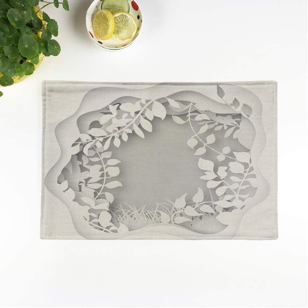 rouihot Set of 4 Placemats Paper Art Spring Or Summer Forest with Grass Tree Branches Leaves Trees Covered Non-Slip Doily Place Mat for Dining Kitchen Table