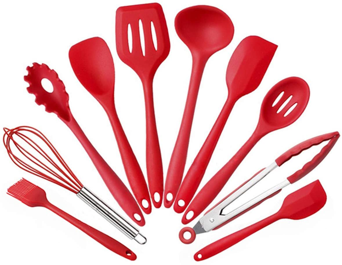 Kitchen Utensils 10 Pieces Heat-Resistant Silicone Cooking Tools Set - Turner, Whisk, Spoon, Brush, Spatula, Tongs