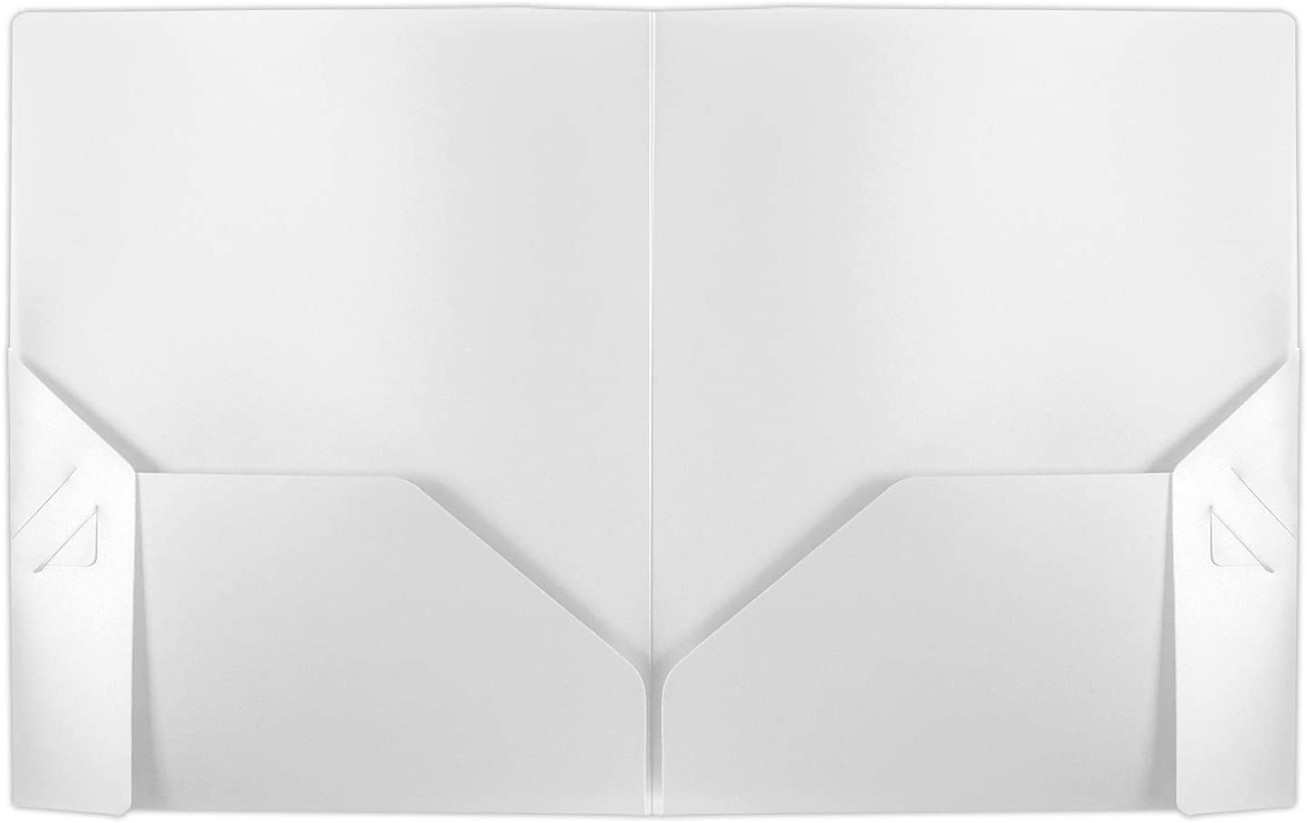 Poly Folders - Heavy Duty Two Pocket Folders for School, Documents, Classrooms, Homeschool Supplies, 0.16 White Folder - 50 Pack - PF-0916-WH-50