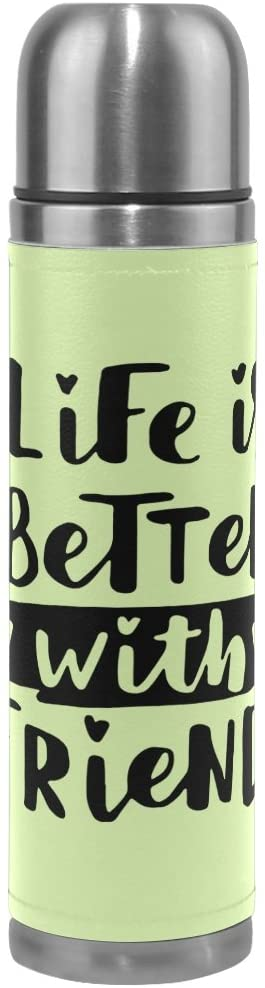 ALAZA Lettering Best Friends Vacuum Flask 17 oz, Double Layer Stainless Steel Vacuum Insulated PU Leather Travel Mug Kettle Bottle Cup
