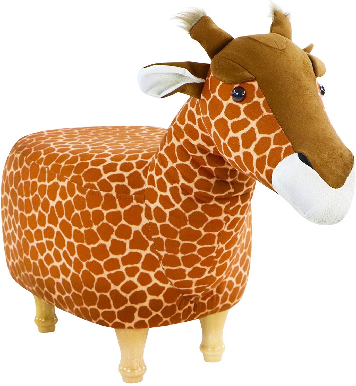 Critter Sitters 15-in. Seat Height Giraffe Animal Shape Ottoman, Tan