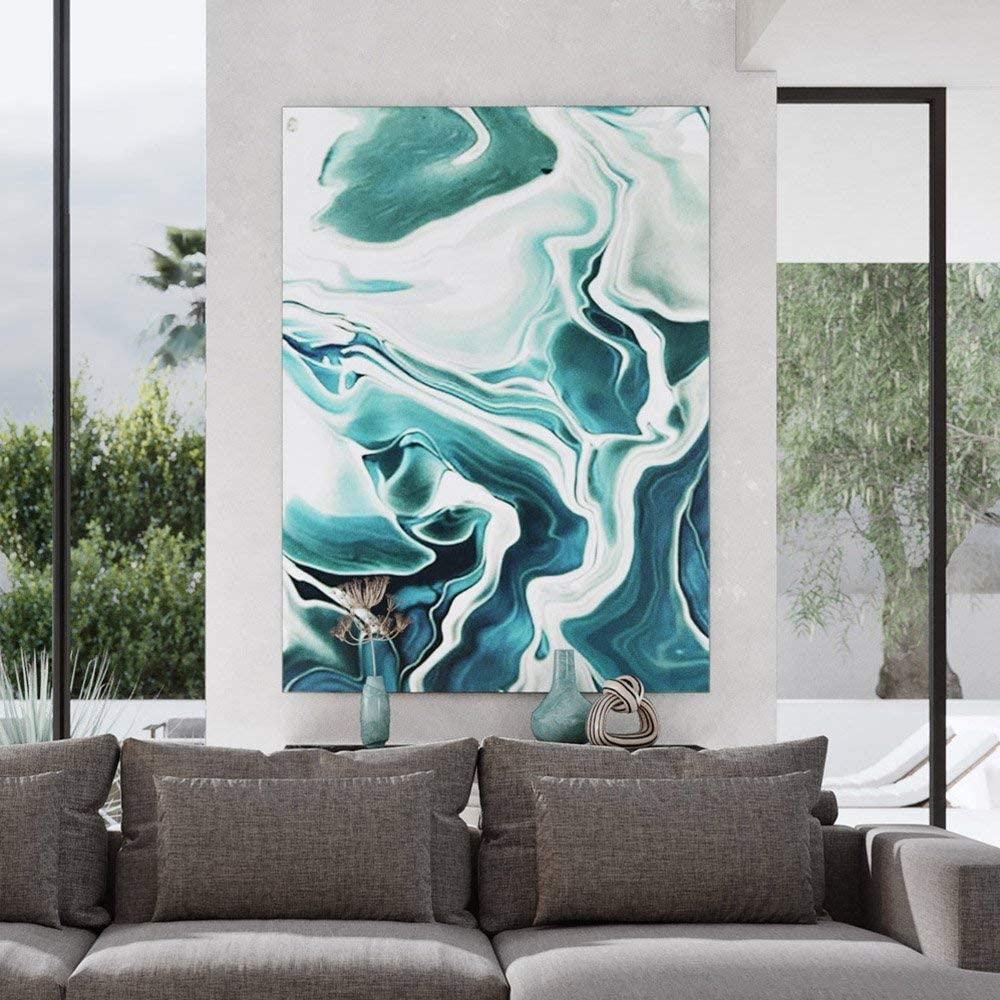 ZURI Liquid Teal Modern Hand Painted Canvas Abstract Art - 96 x 70