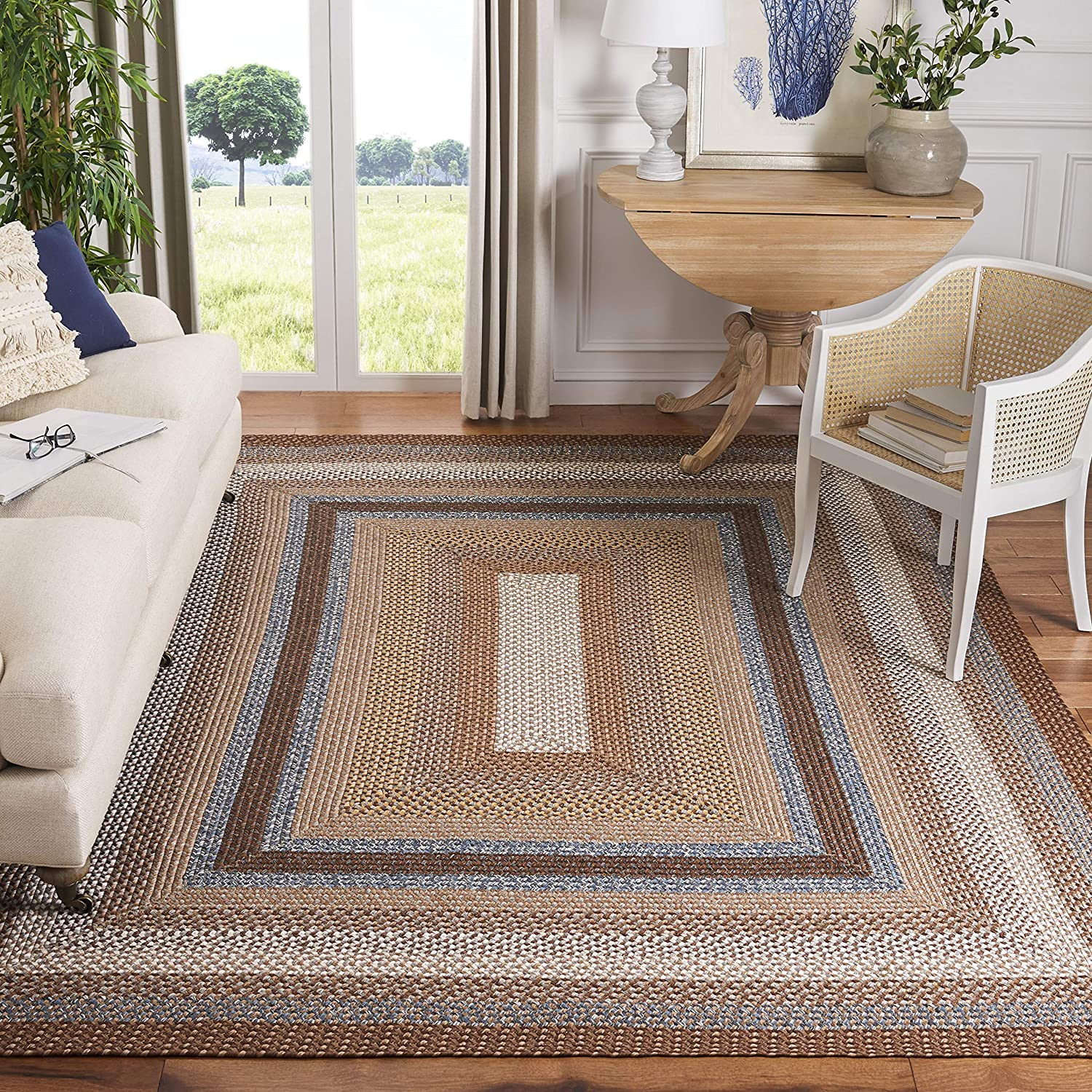 Safavieh Braided collection BRD313A Hand-woven Reversible Area Rug, 5' x 8', Brown/Multi