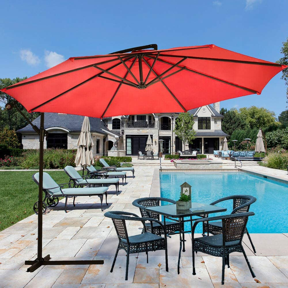Dkeli Patio Umbrellas Outdoor Table Market Umbrella 10 ft Cantilever Offset Hanging Umbrella with Cross Base and Crank for Garden Backyard Poolside Deck Patio, 8 Sturdy Ribs (Red)