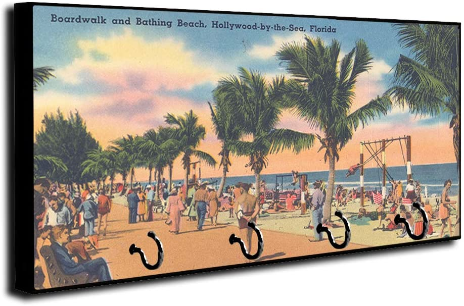 Brotherhood Vintage Novelty Post Card Hollywood by The Sea Key Holder Organizer Wall Mount Rack for Holders The Home Keys Ring Decorative Hangers Decor Hook Hanger