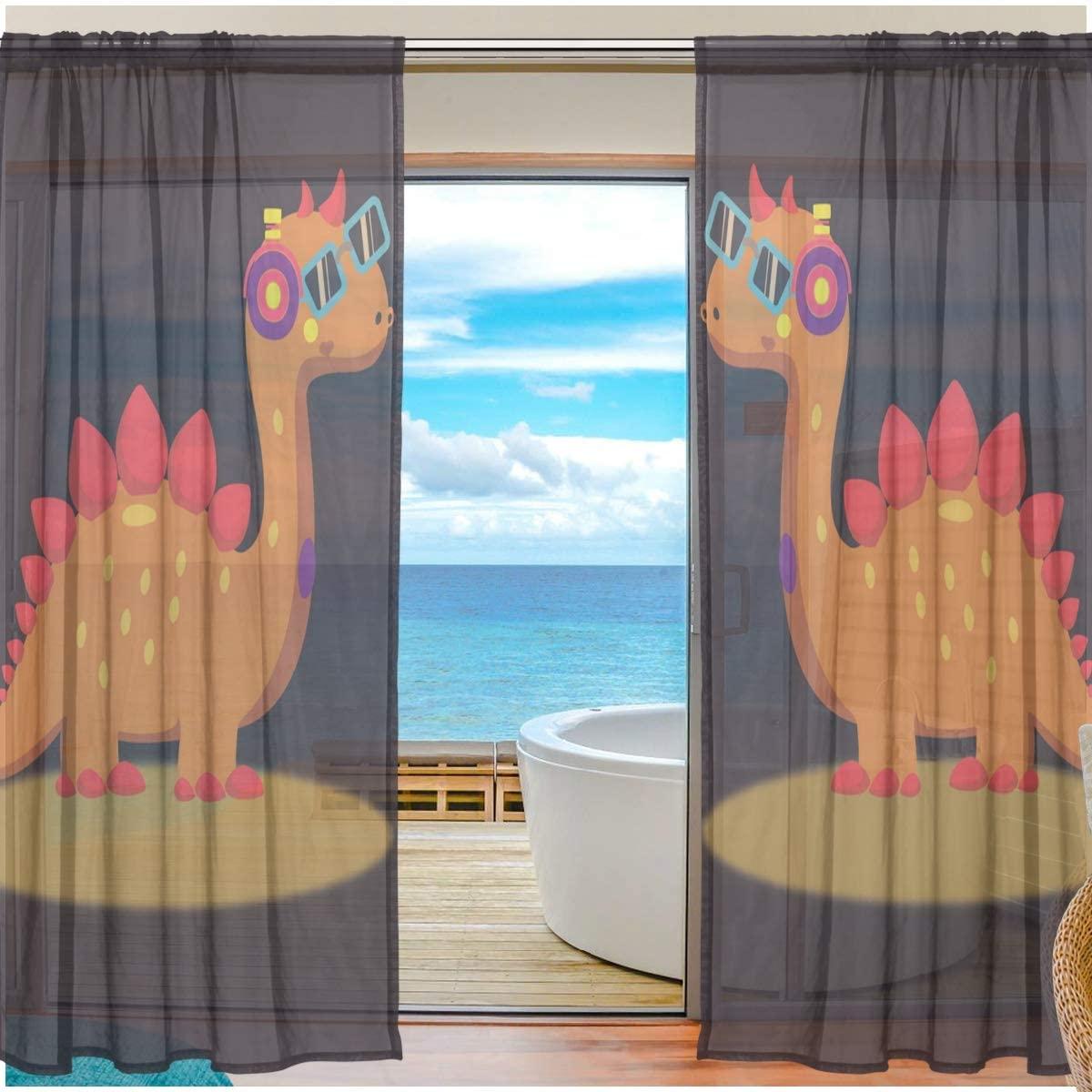 Window Sheer Curtains Orange Dinosaur Digital Printed Polyester Fiber Drapes for Door Kitchen Living Room Bedroom