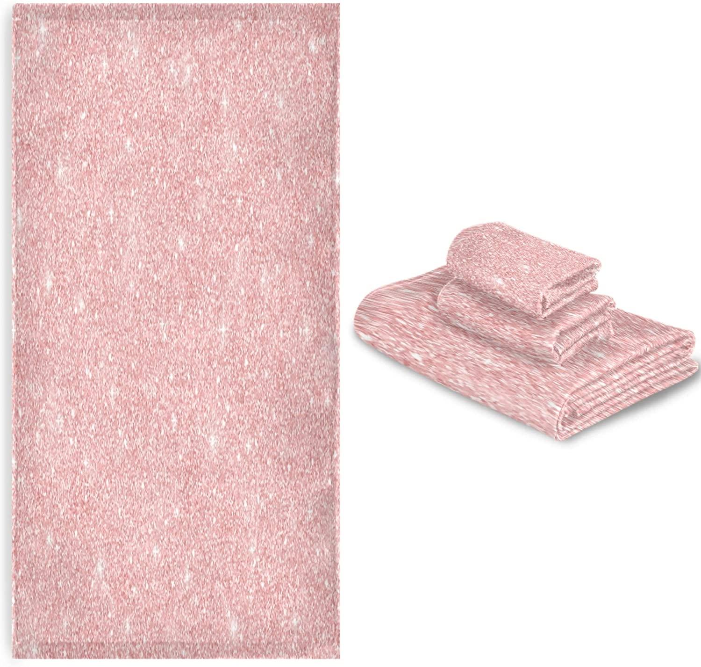 MNSRUU Towel Set Rose Gold Glitter Towels Bathroom Sets Clearance Highly Absorbent Soft Shower Towels Sets of 3 for Bathroom Beach Gym Swim