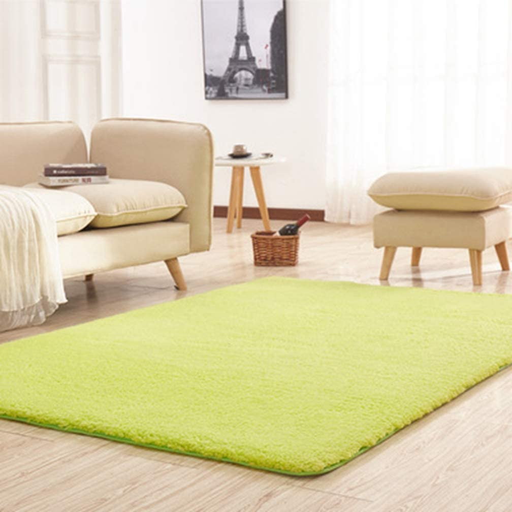 Solid Square Area Rugs Soft Shag Living Room Children Bedroom Rug Anti-Slip Shaggy Plush Carpets Home Decor Modern Indoor Outdoor Runners Nursery Green 5' X 5'