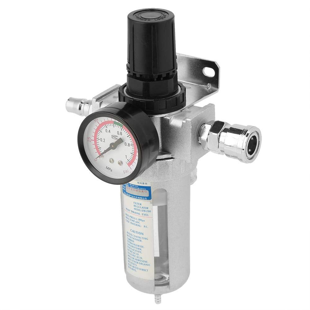 1/4Inch Aluminum Air Filter Regulator 30 to 120PSI Adjustment Range with Mount Connection
