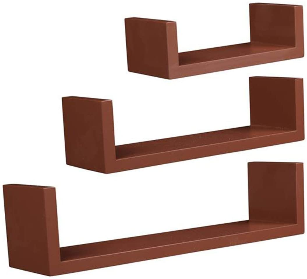 OCDAY Set of 3 Floating Display Shelves Ledge Bookshelf Wall Mount Storage, for Livingroom, Bedroom, Bathroom, Kitchen, Trendy Modern Home Décor Organization (Brown)