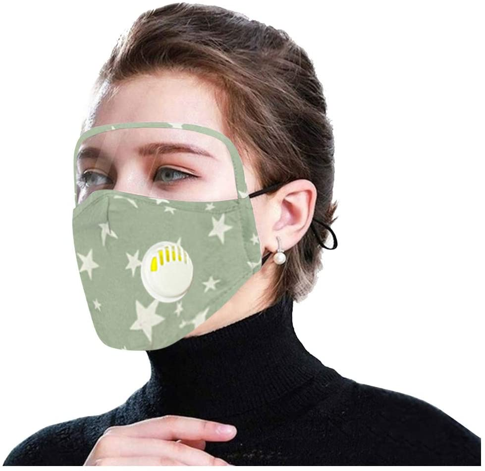 HunYUN Earloop Outdoor Anti-Dust Mouth Shield 3Pcs Adult Face Shield with Eyes Shield Protect Shield and Breather Valve+6 Filters Sports Protection