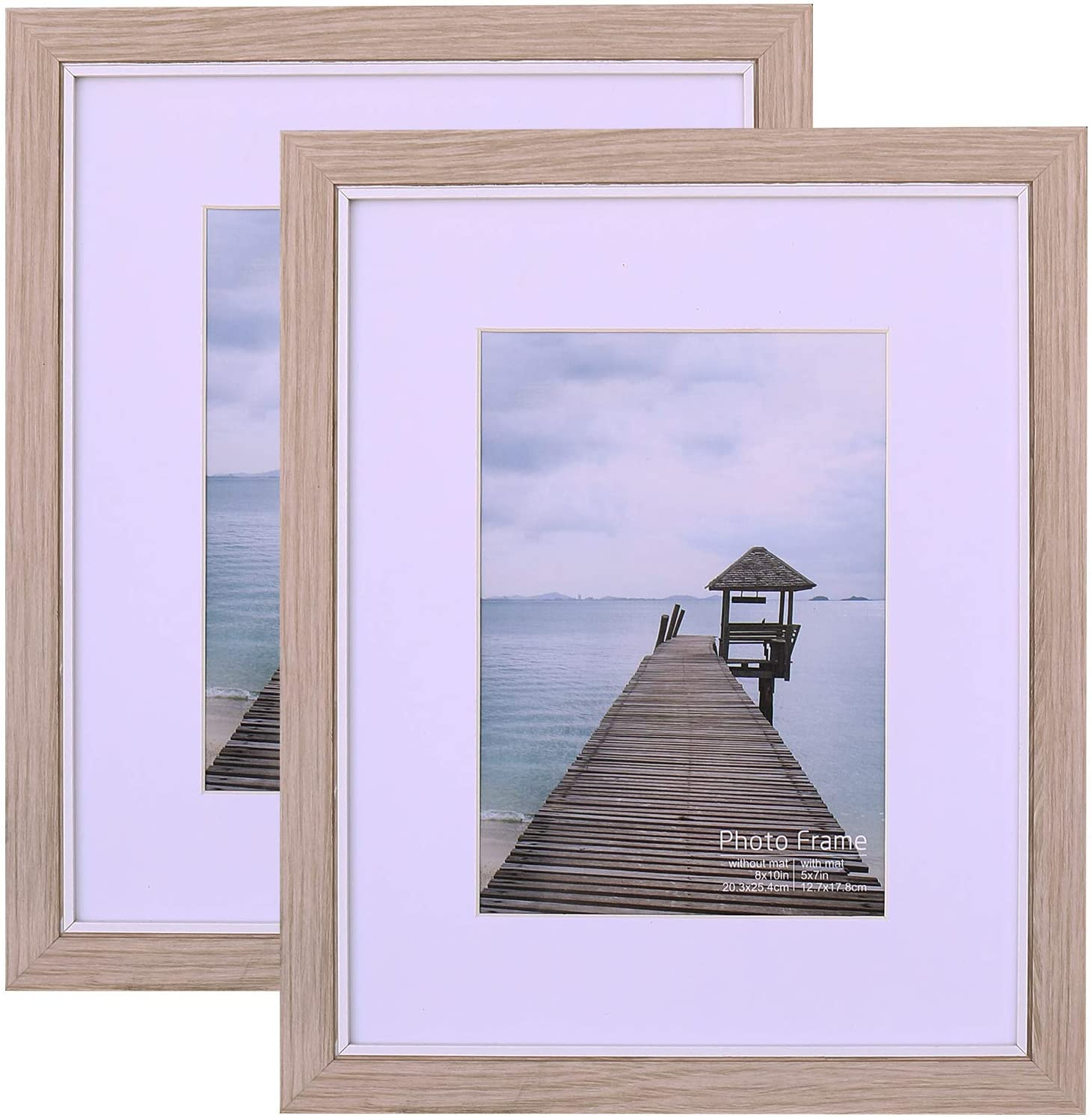 ATOBART Light Apricot 8x10 Picture Frame Set of 2,Display Pictures 5x7 with Mat or 8x10 Without Mat,Multi Photo Frames Collage for Wall or Tabletop Display Living Room Decor