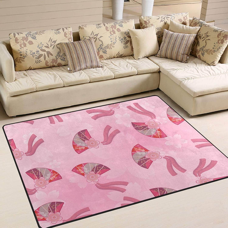 UMIRIKO Area Rug for Bedroom Pink Fan Indoor Area Rug Carpet Garden Floor Mat Non Slip Rugs for Kitchen 63 x 48 in 2021185