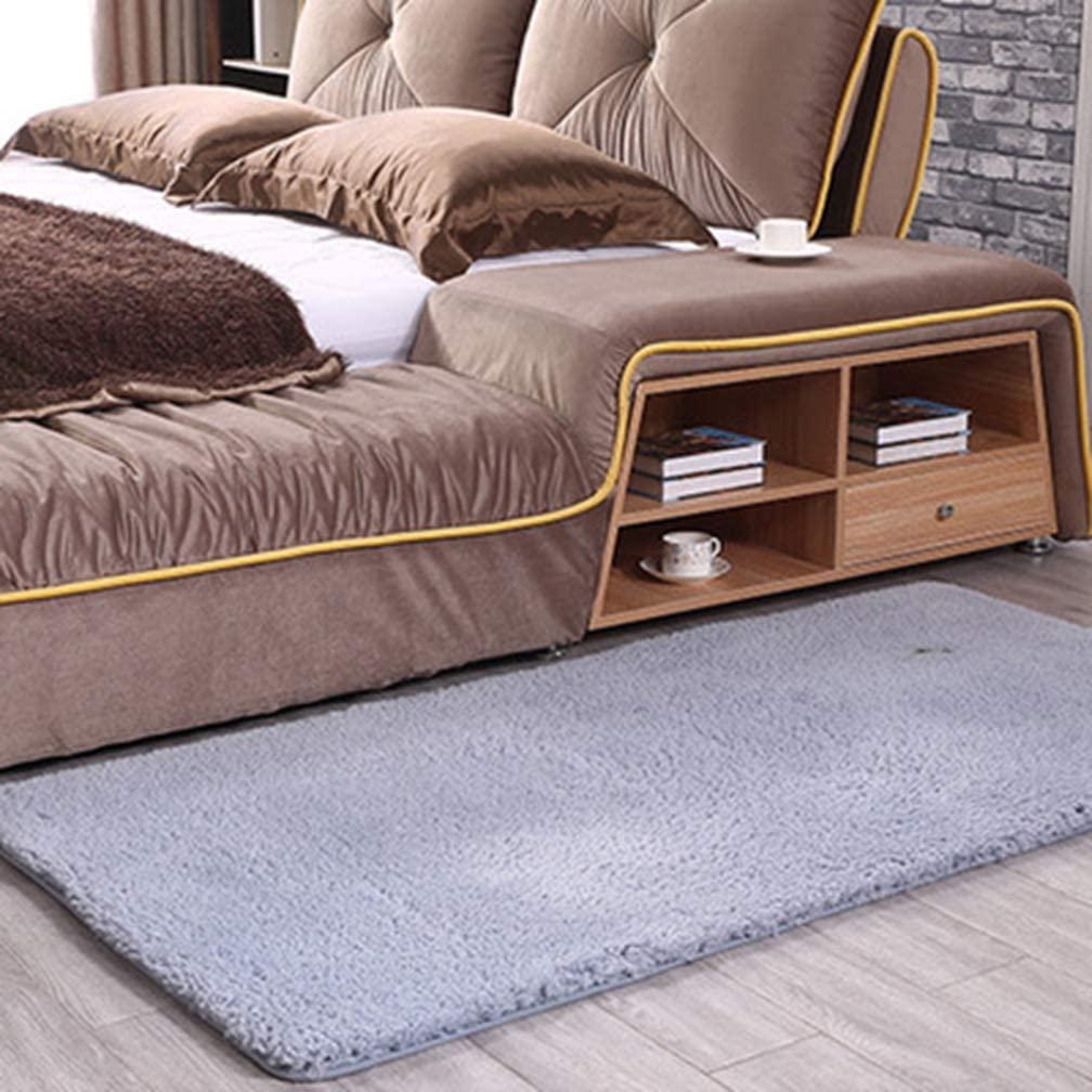 MOXIC Solid Rectangular Area Rugs Soft Shag Living Room Children Bedroom Rug Anti-Slip Plush Carpets Home Decor Modern Indoor Outdoor Runners Nursery Gray 7' X 9'