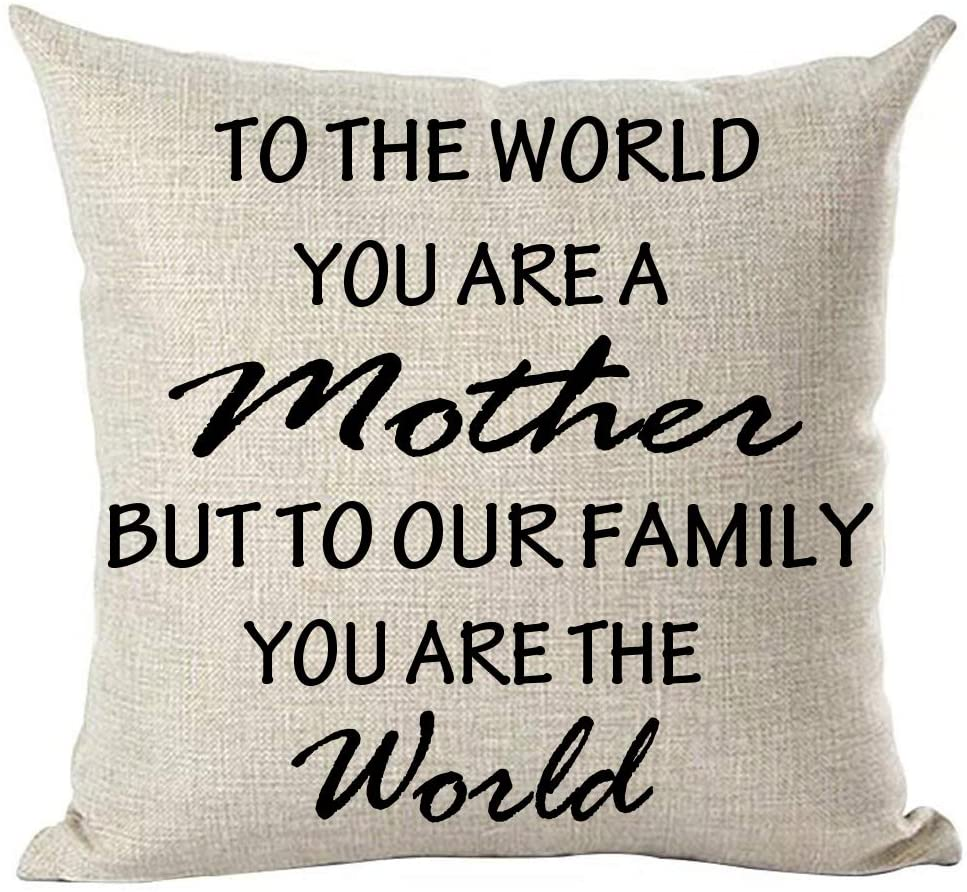 ramirar Black Word Art to The World You are A Mother But to Our Family You are The World Decorative Throw Pillow Cover Case Cushion Home Living Room Bed Sofa Car Cotton Linen Square 18 x 18 Inches