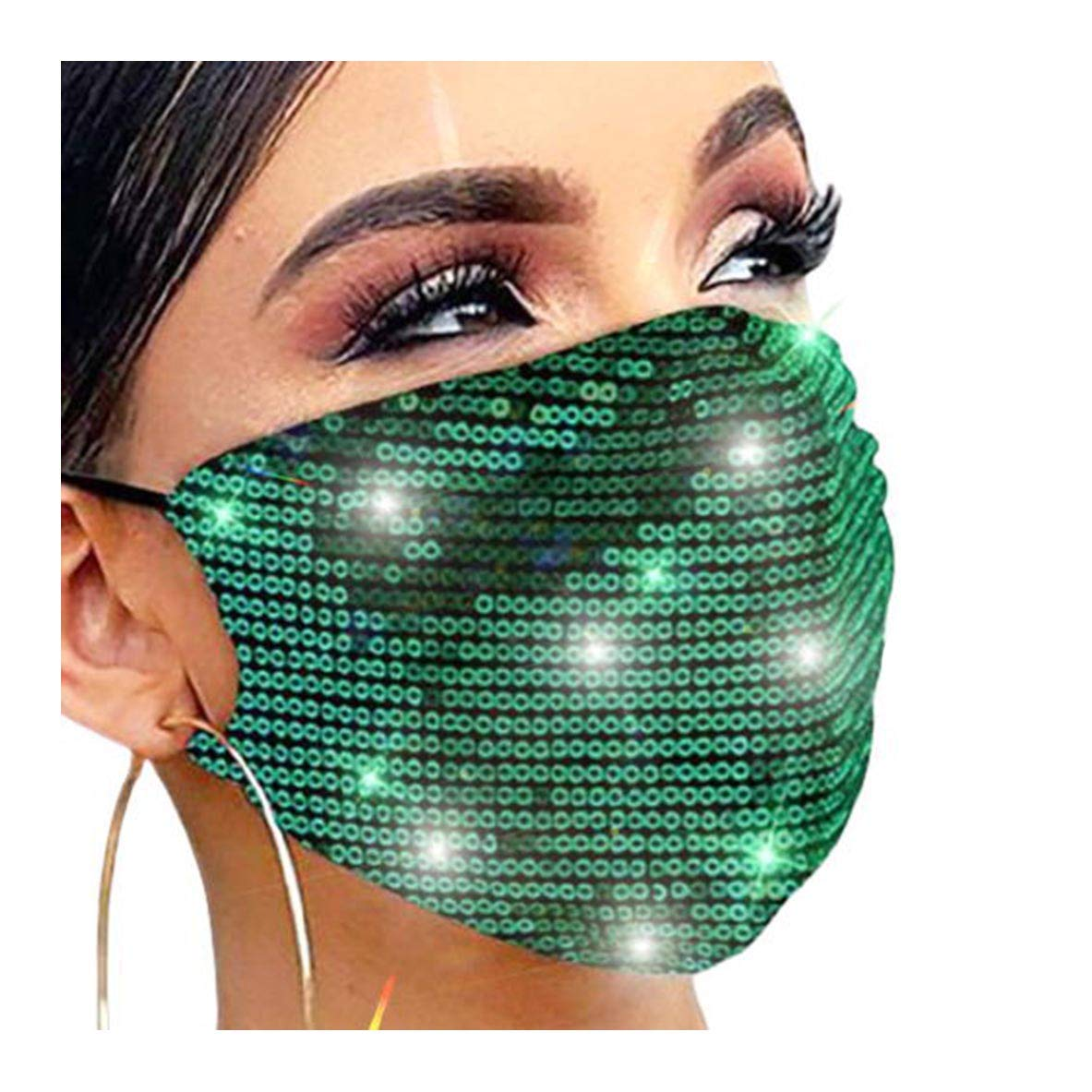 Fstrend Sparkly Mask Green Sequins Costume Masquerade Masks Adjustable Cotton Breathable Reusable Party Night Club Face Covering for Women and Girls