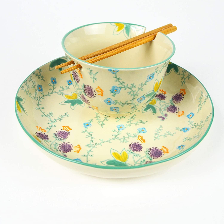 Euro Ceramica Ella 3 Piece Ramen and Dinner Bowl Set with Bamboo Chopsticks Multicolor Asian Floral Design with Aqua Rim