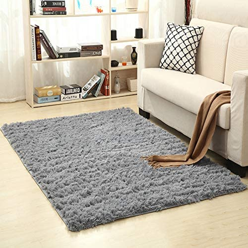 RENYD Soft Large Fuzzy Shag Fur Area Rugs for Kids Room Bedroom Fluffy Carpets Anti-Skid Luxury Washable Shag Carpets for Baby Boys Girls Living Room Home Decor Rugs Mat for Floor, 2.6x5.2FT (Grey)