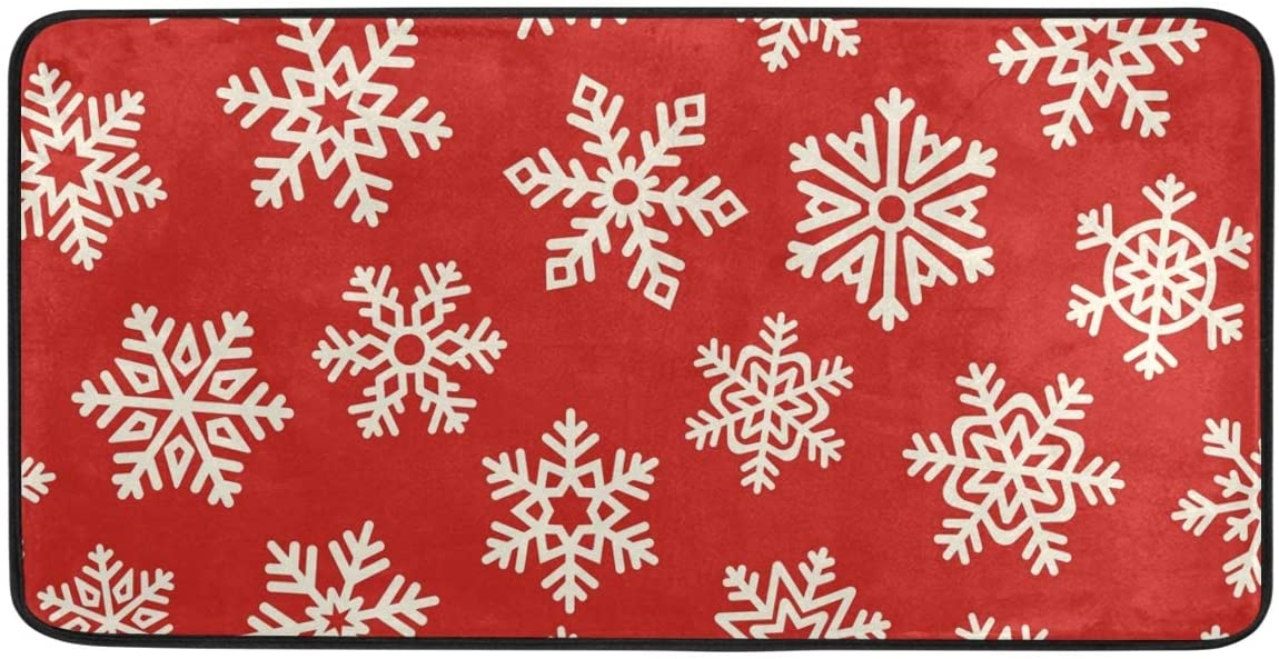 Golden Snowflake Red Kitchen Mat Rugs Cushioned Chef Soft Non-Slip Floor Mats Washable Doormat Bathroom Runner Area Rug Carpet,39