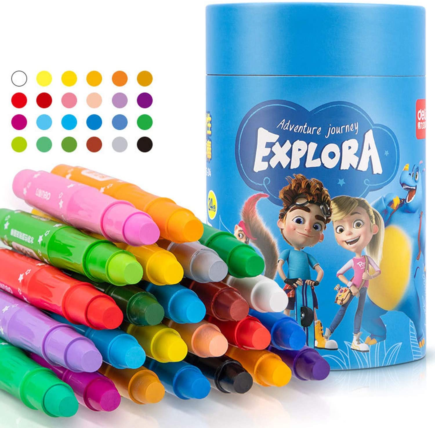 ZTT Twistable Crayons,Jumbo Crayons,Washable Crayons ,Crayons 24 Count,Crayons for Kids Ages 4-8, 3 in 1 Effect (Crayon- Pastel- Watercolor)+A Free Brush,for Toddler Art Supplies 2 Years.