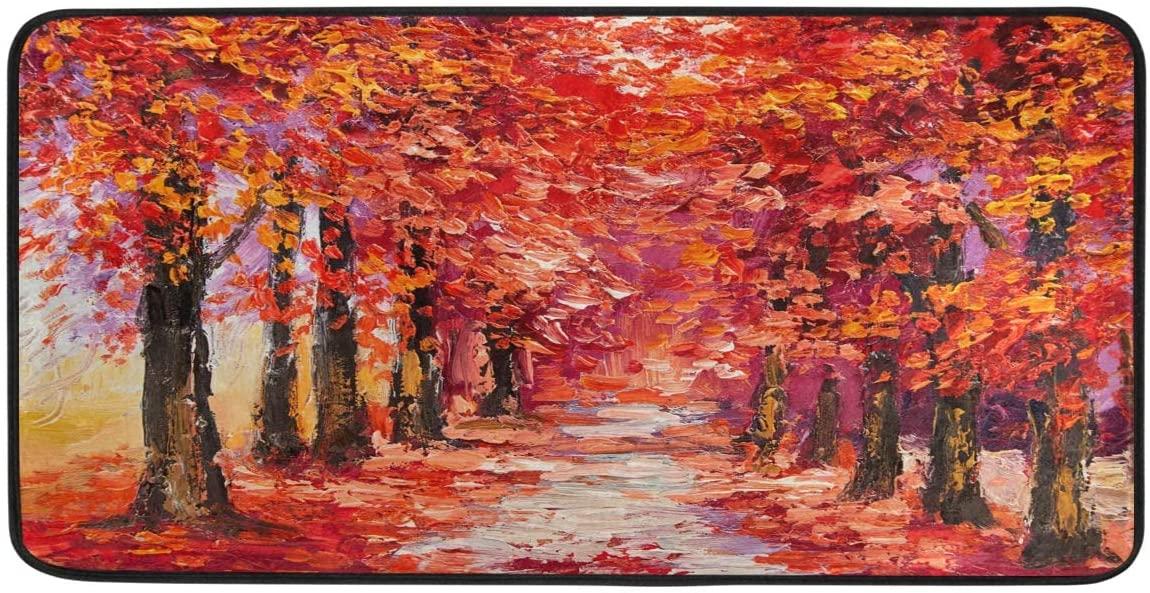 FORMEETY Autumn Maple Tree Long Floor Mat Washable Area Rug Pads Kitchen Rug Doormat Carpet for Living Room Indoor Outdoor Bathroom Entryway