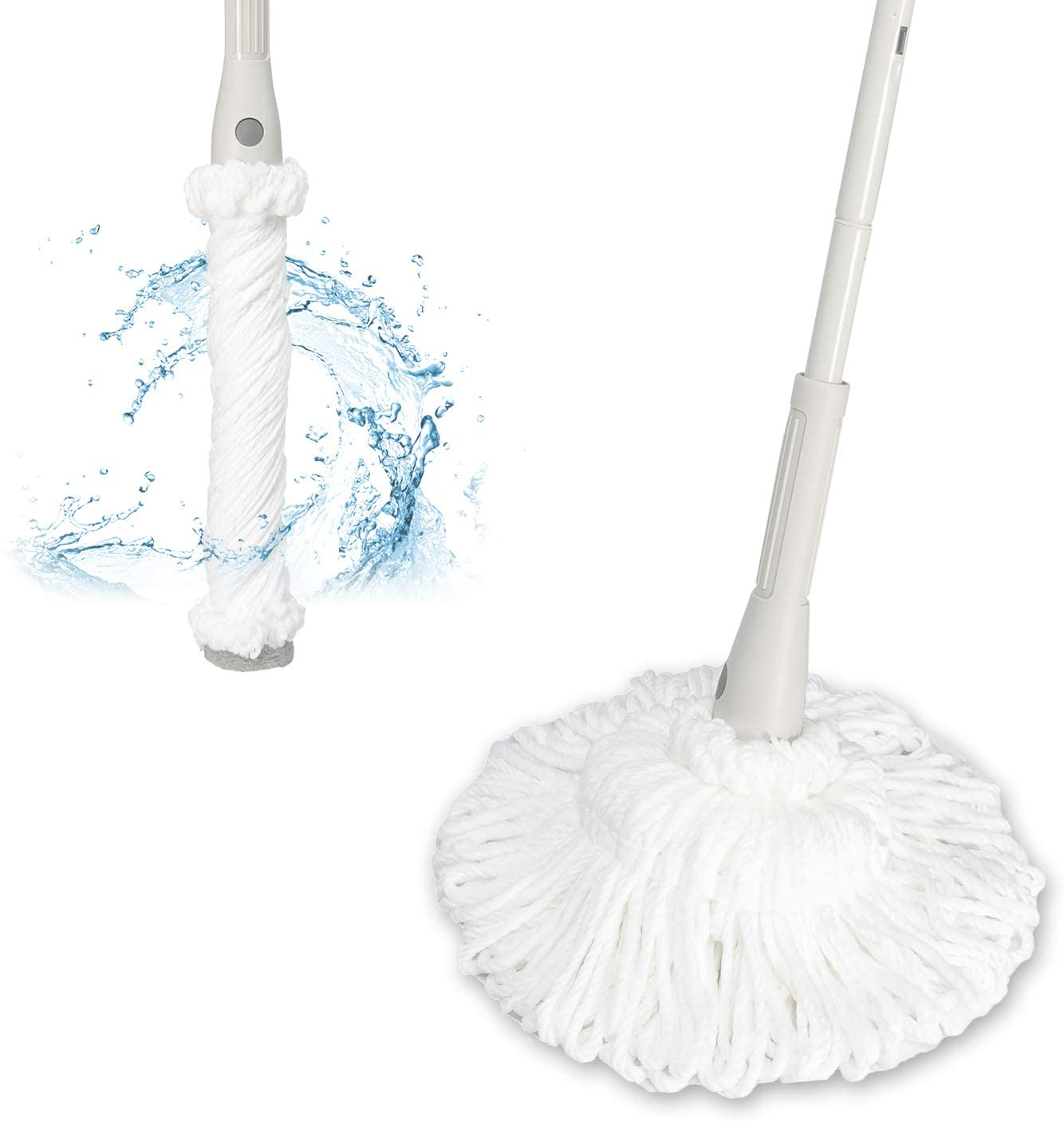JEHONN Self-Wringing Mop, Microfiber Twist Tornado Mop for Floor Cleaning Dust Mop Metal with 2 Washable Replacements 51 Inches