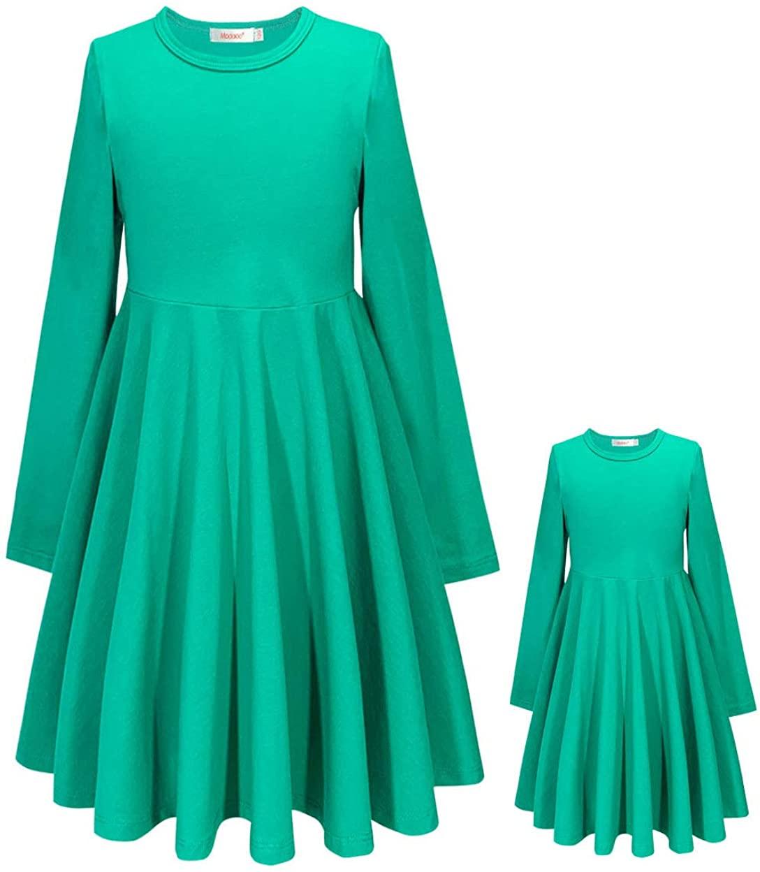 ModaIOO Matching Dolls & Girls Long Sleeve Dress,A-Line Skater Twirly Casual Dresses for Kids